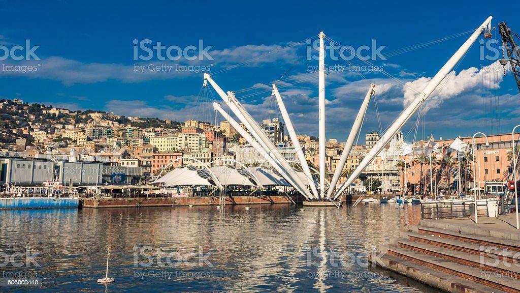 The Bigo in Port of Genoa, Italy stock photo