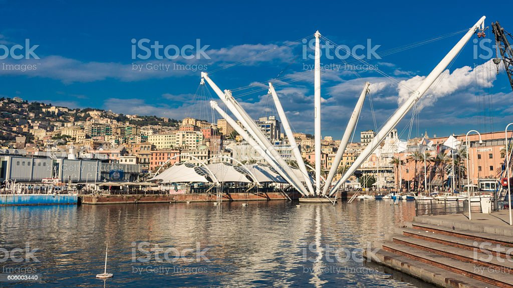 The Bigo in Port of Genoa, Italy stock photo
