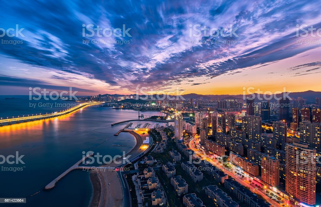 The bird view of seaside of Xinghai park. stock photo