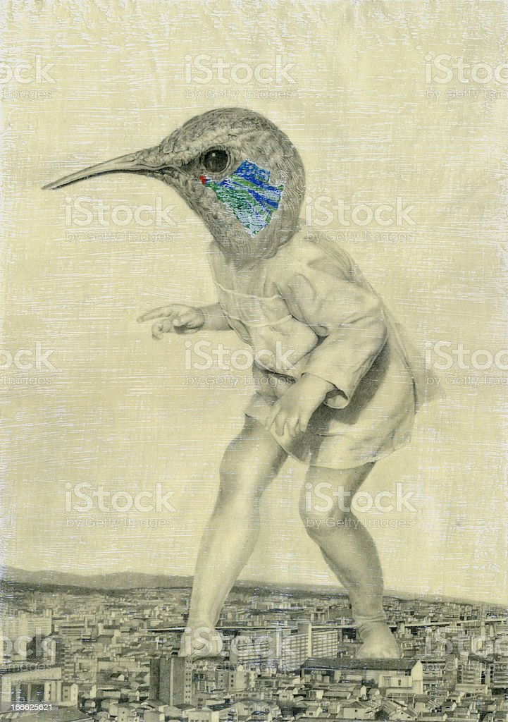 The bird which became a giant royalty-free stock photo