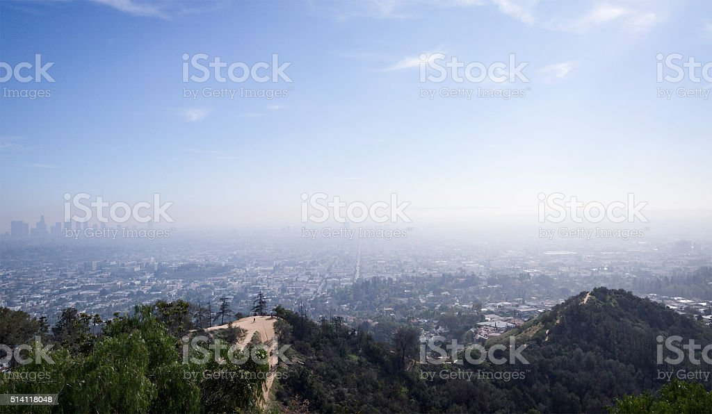 The bird-eye view to the city of Los Angeles stock photo