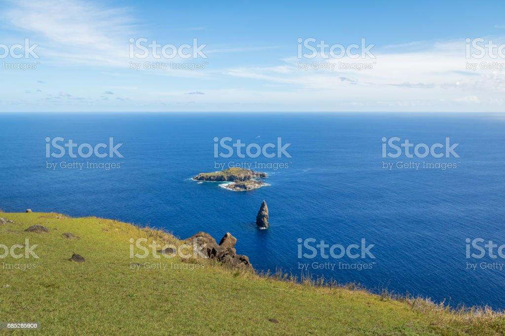 The Birdman Island near Orongo Ruins - Easter Island, Chile stock photo
