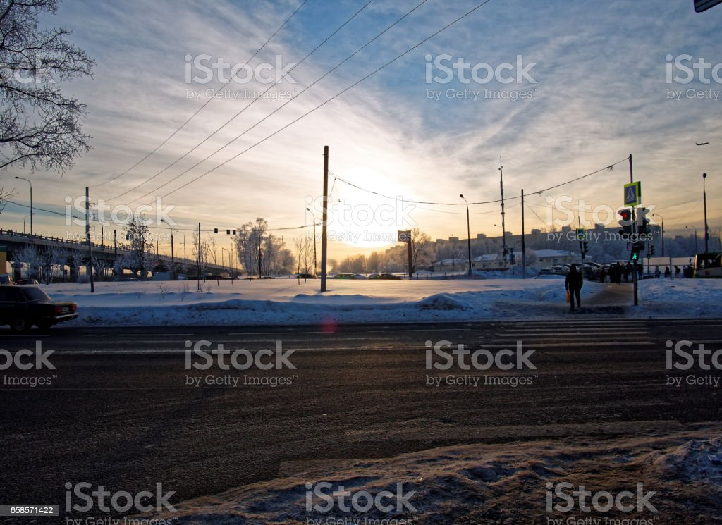 the bitter cold night in Moscow stock photo