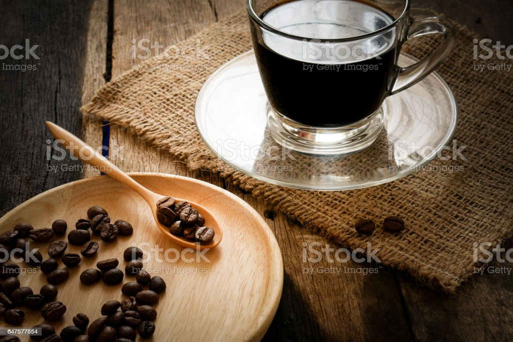 The black coffee and bean. stock photo