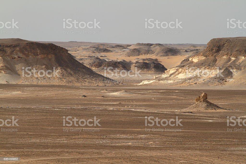 The Black Desert in the Sahara of Egypt stock photo