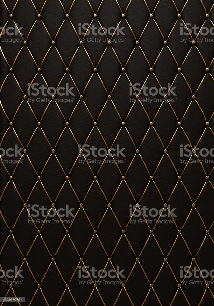 The black leather texture of the quilted skin stock photo