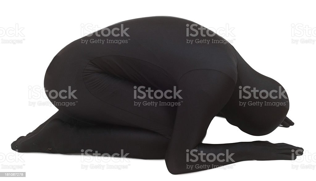 The black man isolated on white praying stock photo