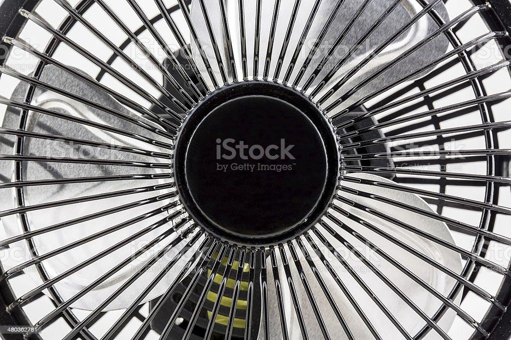 Close up the black mini electronic fan