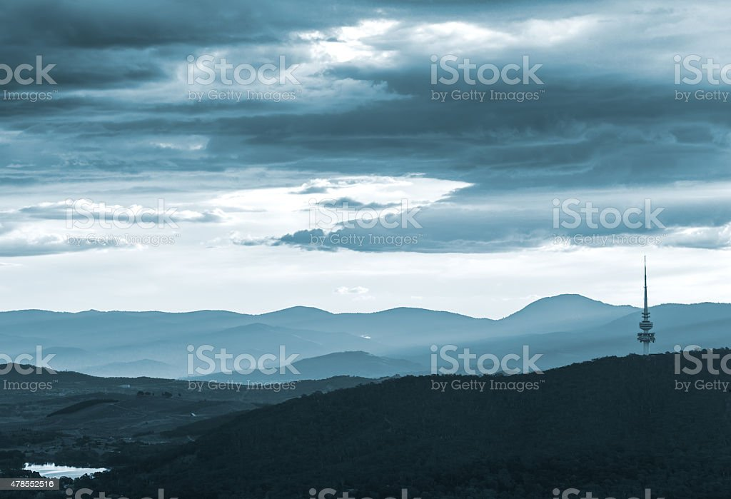The Black Mountain And Beyond During Dusk Twilight stock photo
