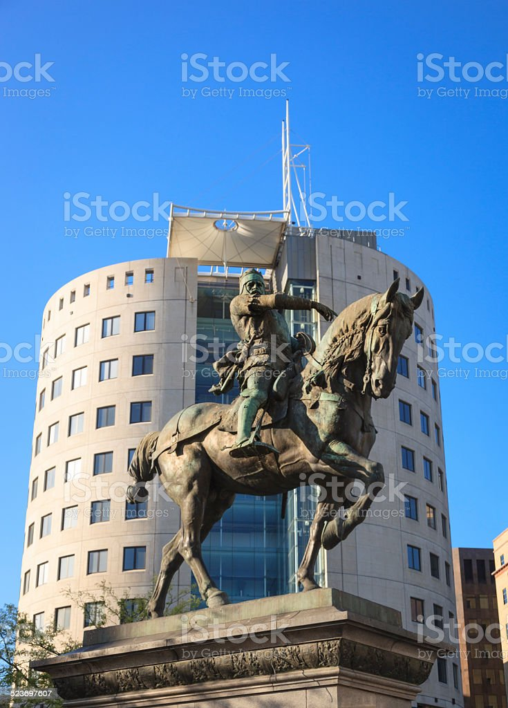 The Black Prince statue in Leeds City Square stock photo