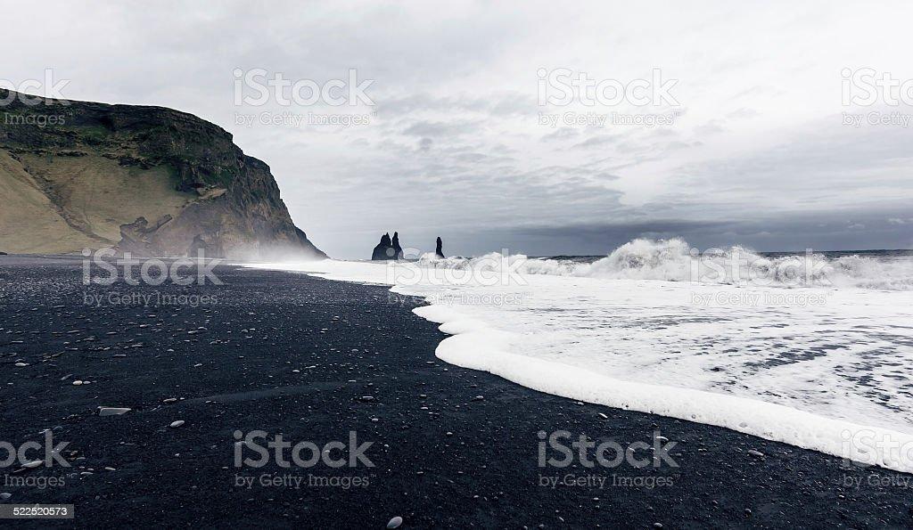 The black sand beach of Reynisfjara in Iceland stock photo