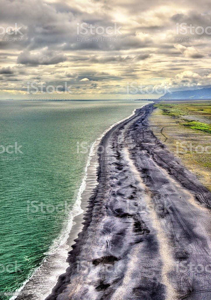 The Black Sand Beach of Vik in Iceland stock photo