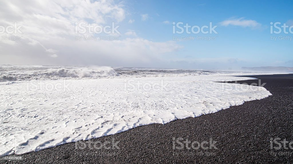 The black sand beach Reynisfjall, iceland stock photo