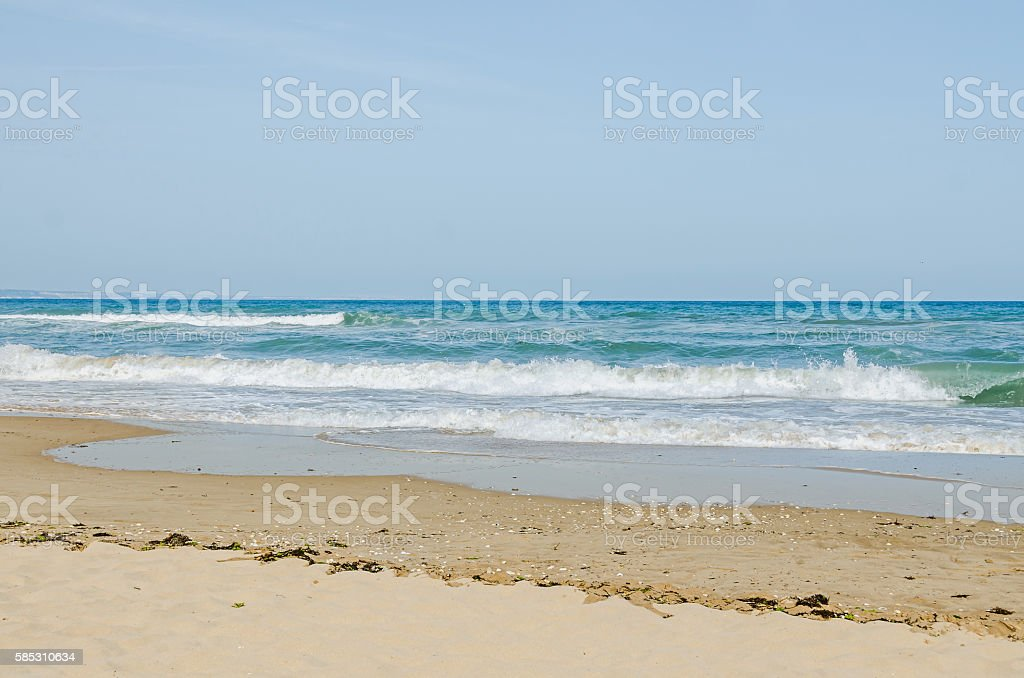 The Black Sea shore, seaside and beach with gold sands stock photo