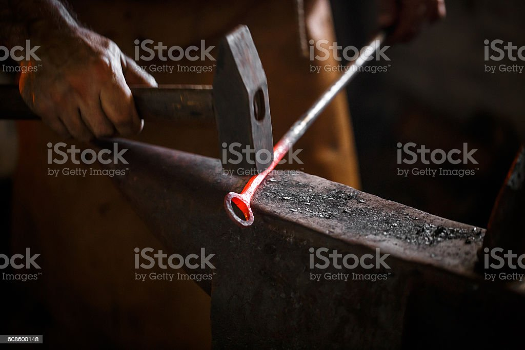 The blacksmith forge the hot metal stock photo