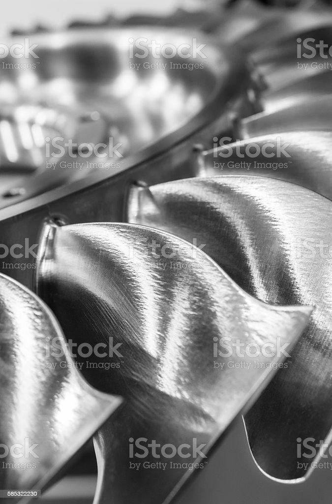 The blades of the turbine wheel, close-up shot. stock photo