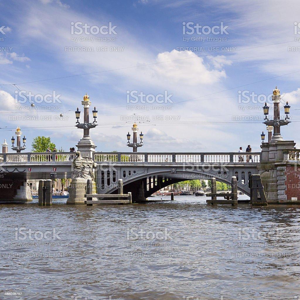 The Blauwbrug (Blue Bridge) over the Amstel River, Amsterdam. royalty-free stock photo