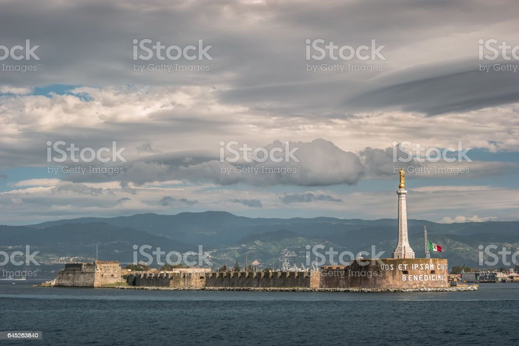 The Blessing of a Golden Madonnina in Messina, Sicily Italy stock photo
