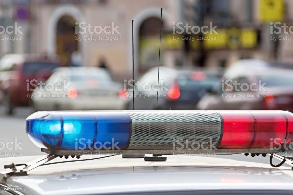 the blinking police alarm system stock photo