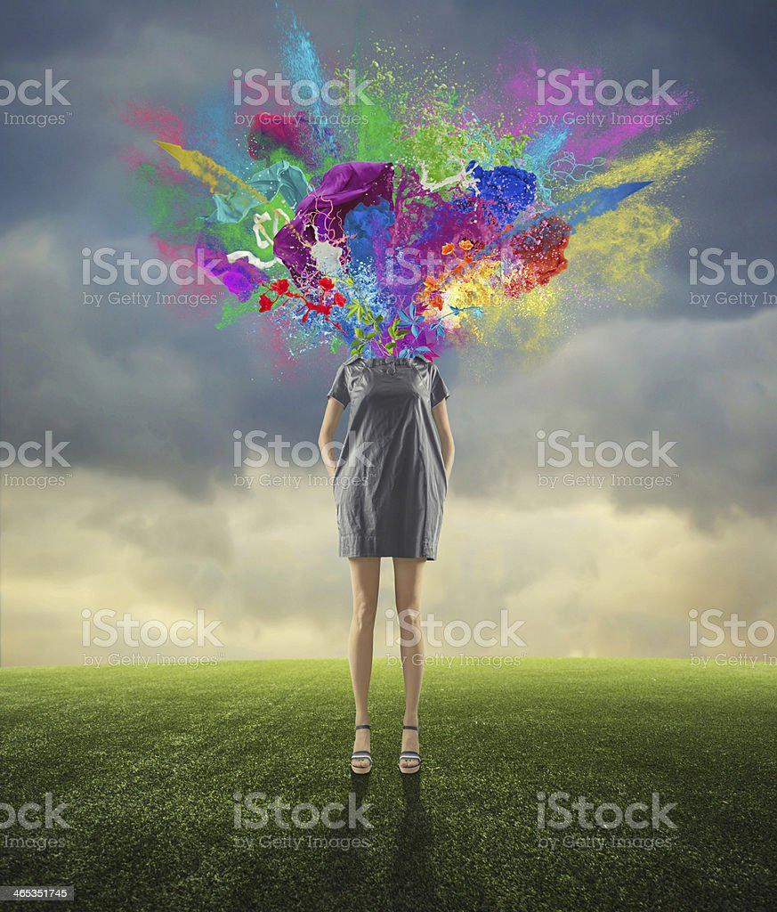 the blown-up head stock photo