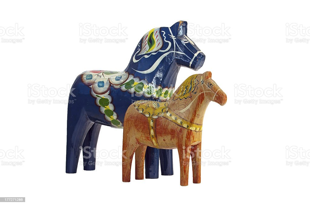 The blue and red Dala Horse stock photo