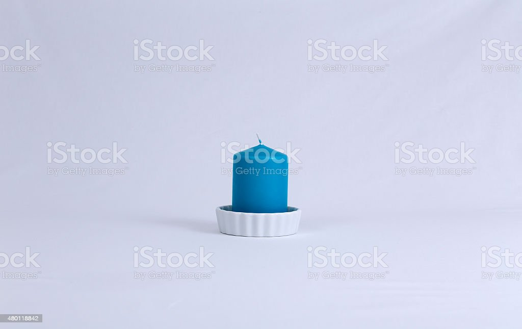 The blue candle royalty-free stock photo