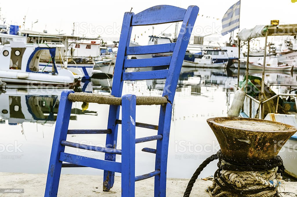The blue chair. stock photo