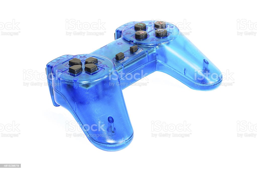 The blue glass game controler on a white background royalty-free stock photo