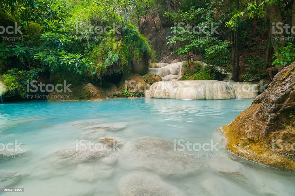The blue lagoon at Erawan waterfall in Thailand #2 stock photo