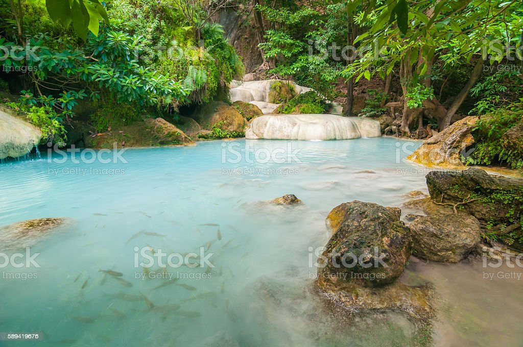 The blue lagoon at Erawan waterfall in Thailand #3 stock photo