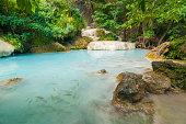 The blue lagoon at Erawan waterfall in Thailand #3
