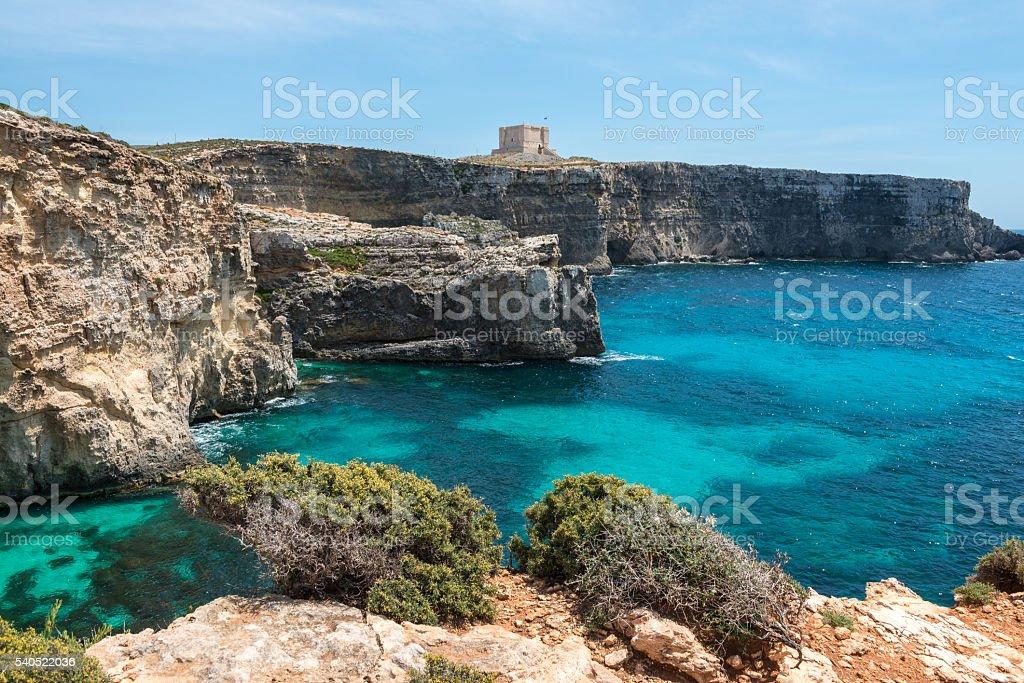 The Blue Lagoon Cliffs stock photo