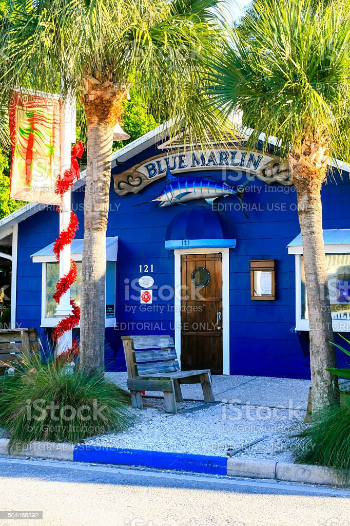 The Blue Marlin Restaurant at Bradenton beach, Florida stock photo