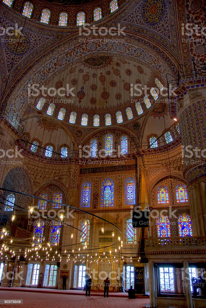 The Blue Mosque ceiling in Istanbul Turkey stock photo