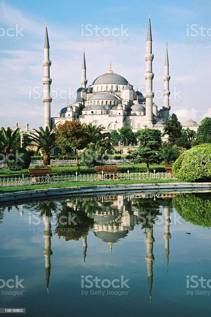 The blue mosque in Istanbul, Turkey with reflection  stock photo