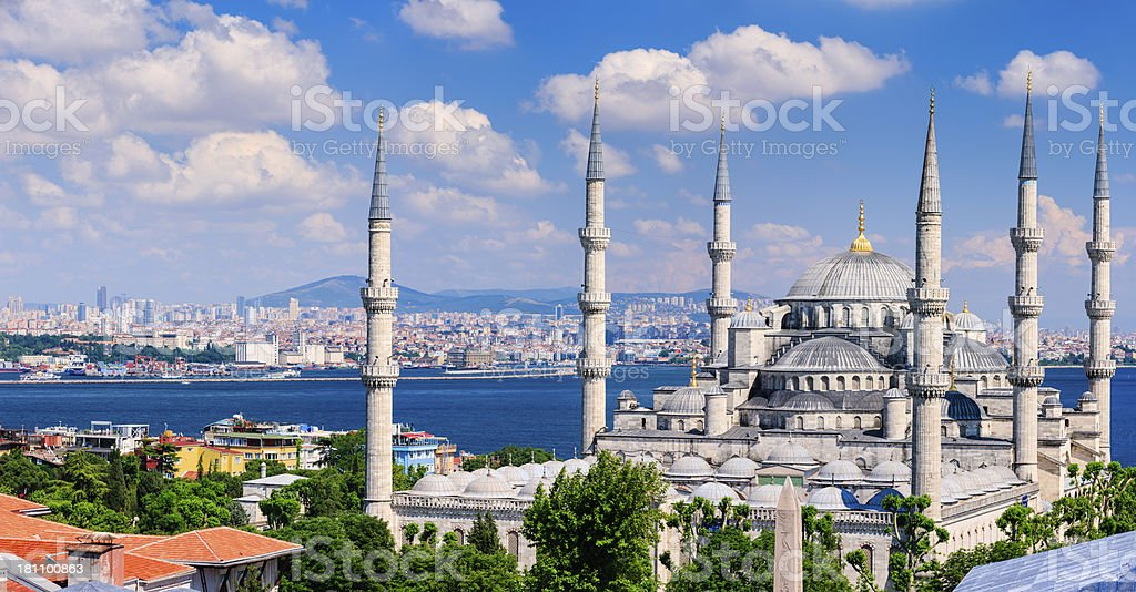 The Blue Mosque in late afternoon sun, Istanbul, Turkey, 51MPix royalty-free stock photo