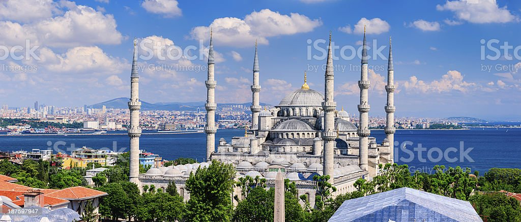The Blue Mosque in late afternoon sun, Istanbul, Turkey, 71MPix royalty-free stock photo