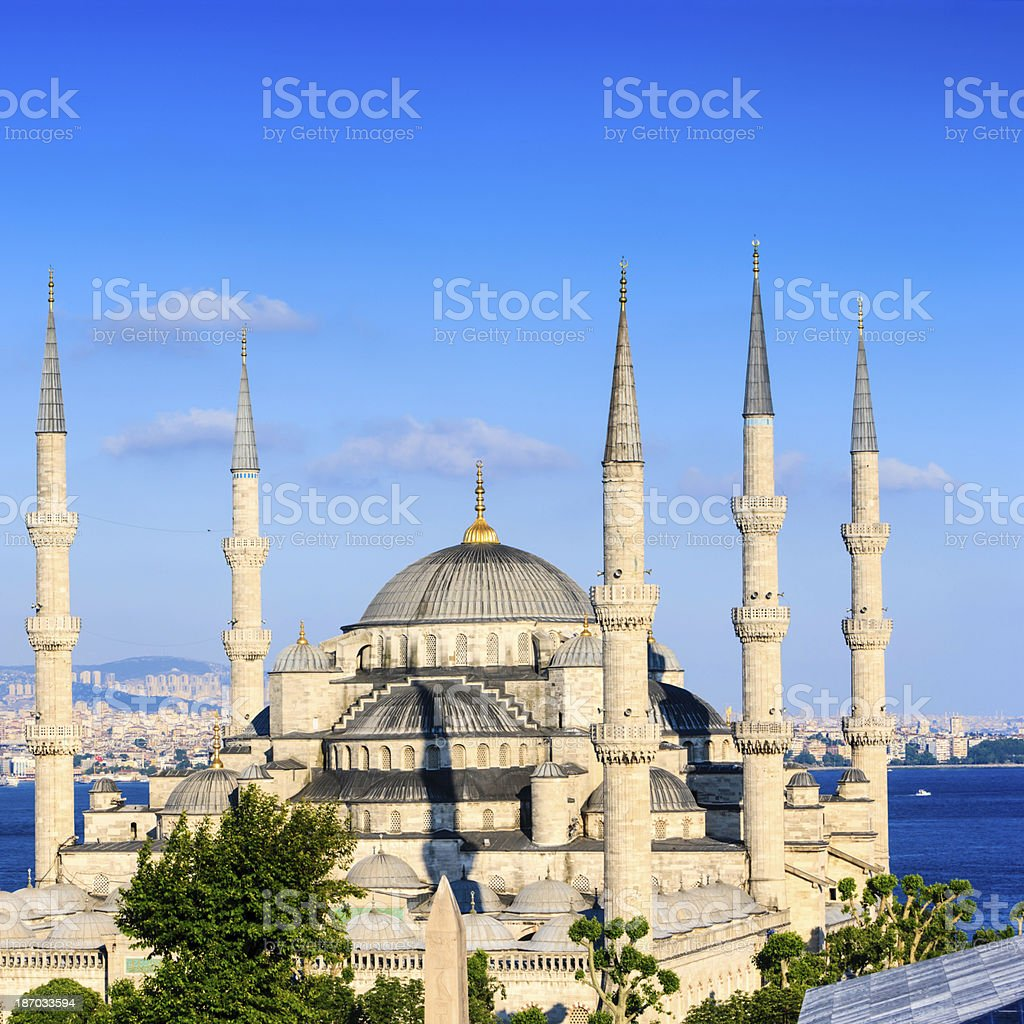 The Blue Mosque in late afternoon sun, Istanbul, Turkey royalty-free stock photo
