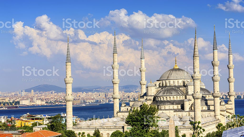 The Blue Mosque in late afternoon sun, Istanbul, Turkey stock photo