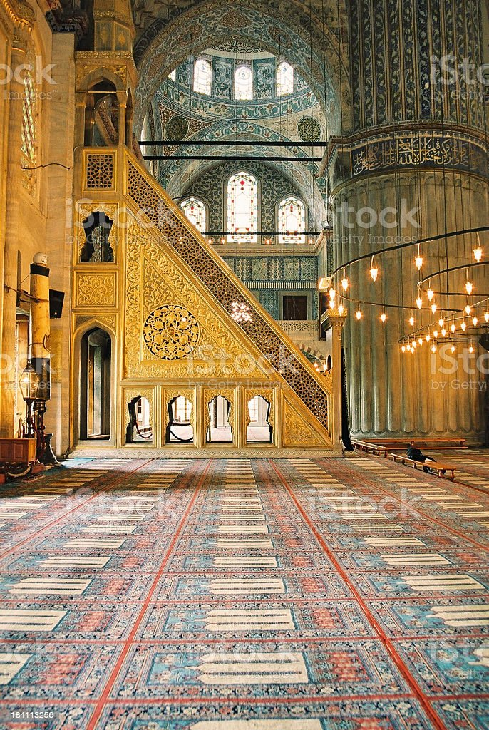 The Blue Mosque interior in Istanbul, Turkey royalty-free stock photo