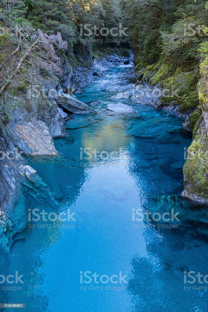 The blue pools, haast pass stock photo