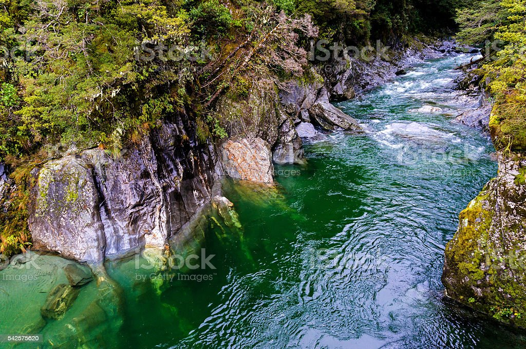 The Blue Pools of Haast Pass in New Zealand stock photo