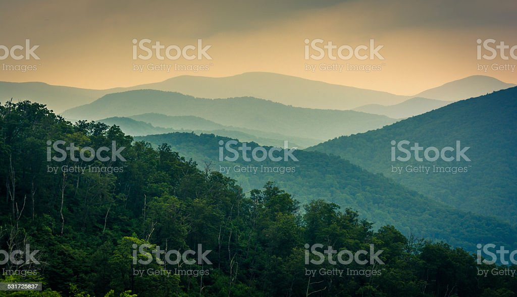 The Blue Ridge Mountains, seen from Skyline Drive in Shenandoah stock photo