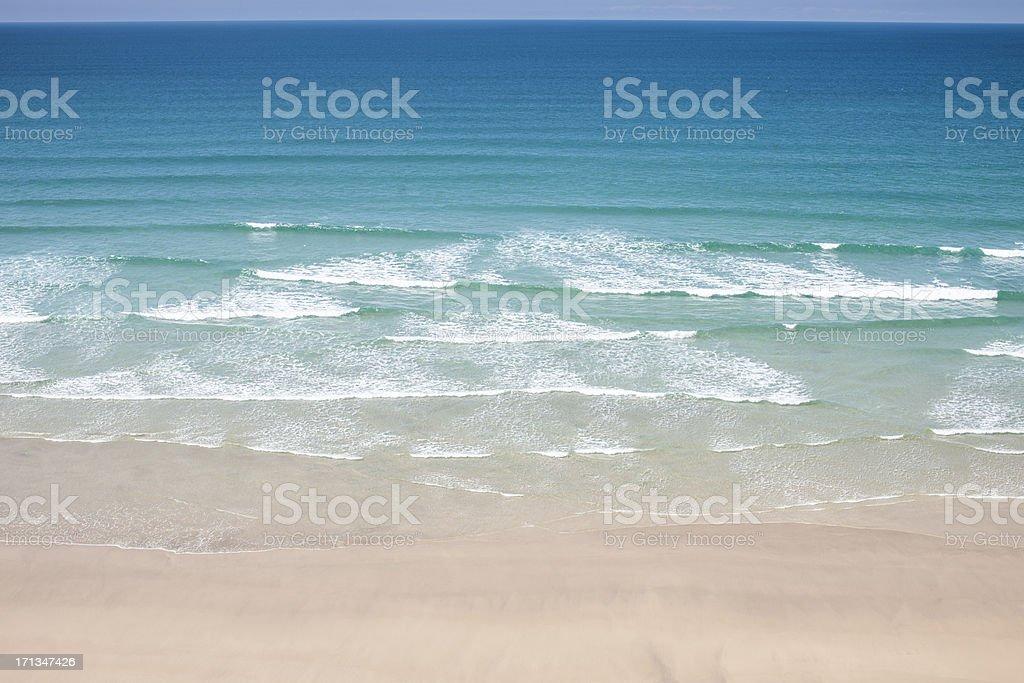 The blue sea at Perranporth Beach, Near Newquay Cornwall stock photo