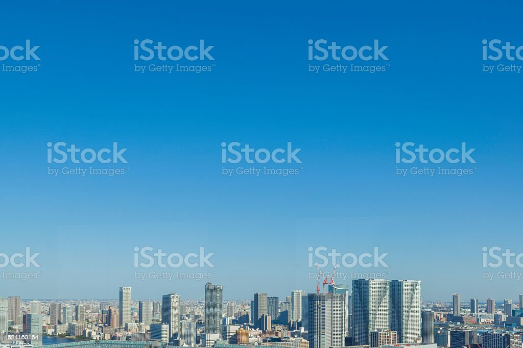 The blue sky and the landscape of Tokyo stock photo