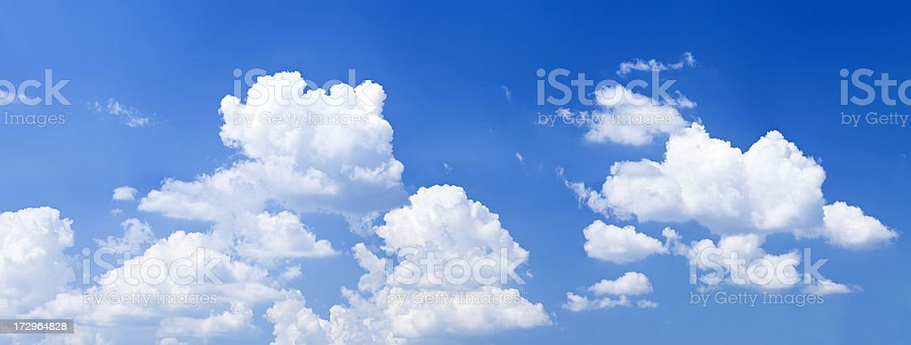 The blue sky with white clouds - panorama 32MPix XXXXL royalty-free stock photo