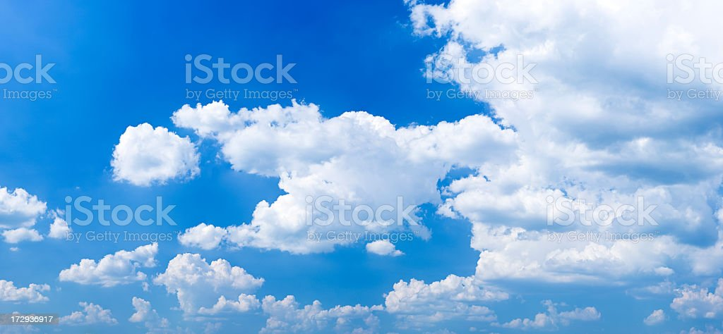 The blue sky with white clouds - panorama, 50MPix XXXXL royalty-free stock photo