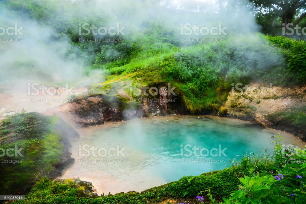 The Blue Small Lake in Legendary Valley of Geysers, Kamchatka stock photo