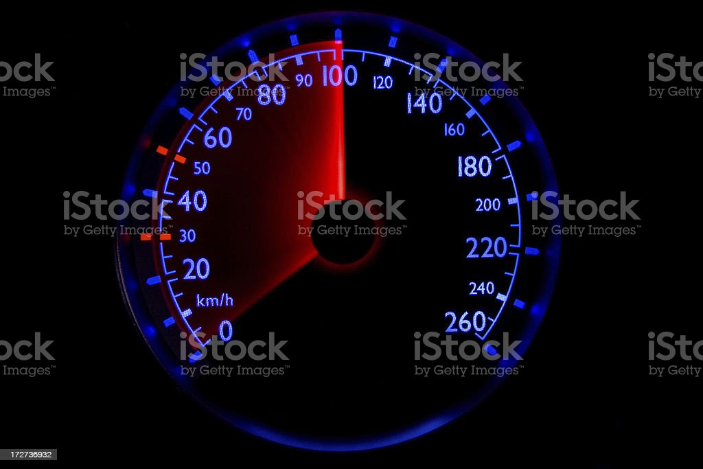 The blue speedometer - accelerating from 0 to 100 km/h royalty-free stock photo