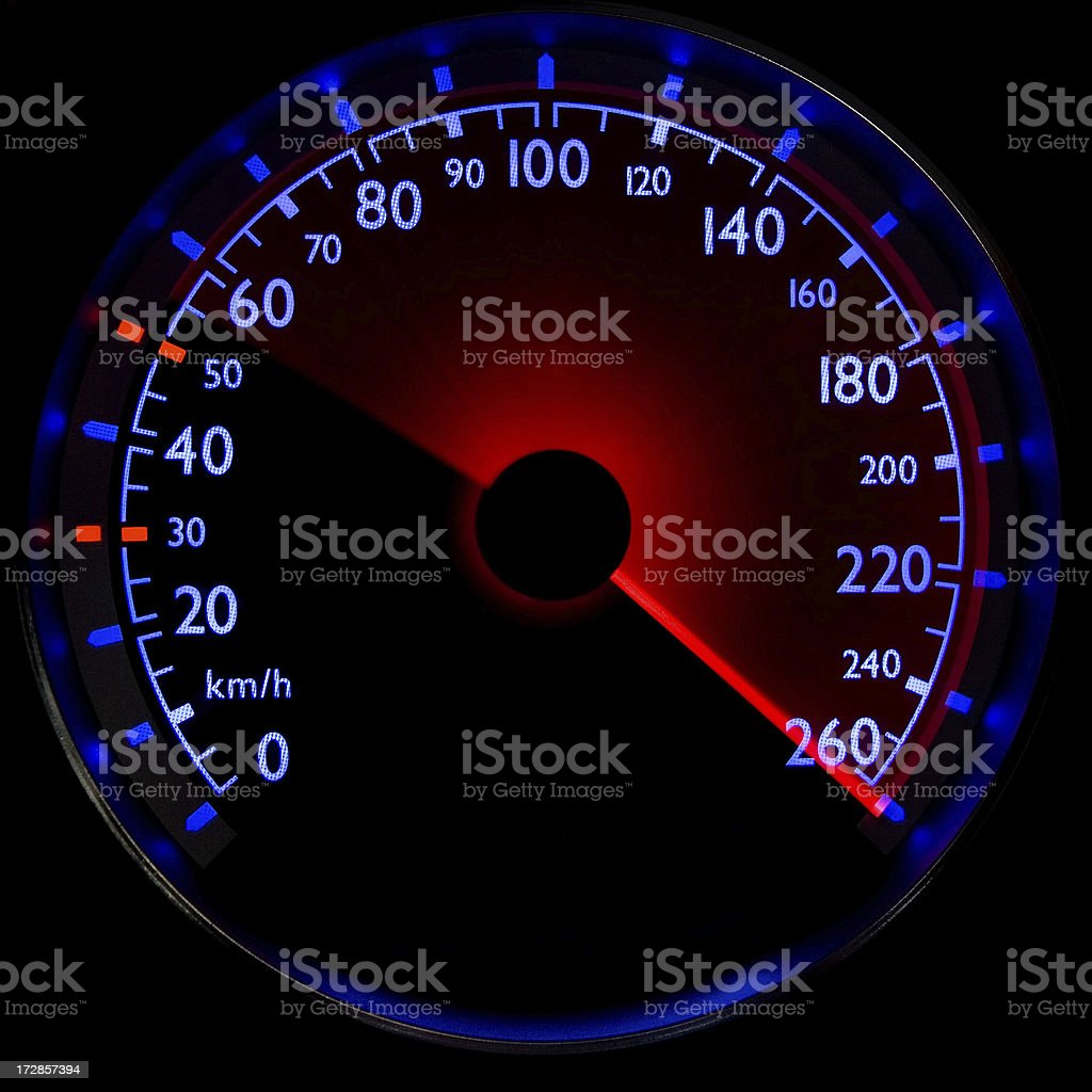 The blue speedometer - accelerating from 50 to 260 km/h stock photo